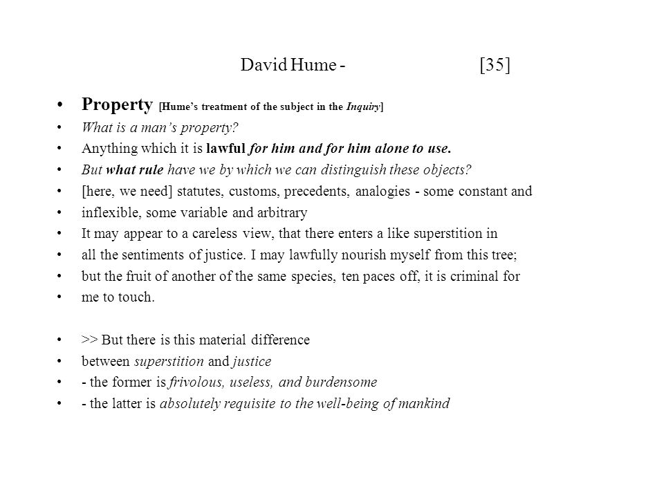 Property [Hume's treatment of the subject in the Inquiry]
